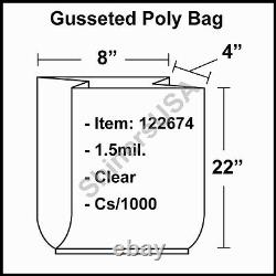 1.5 mil Gusseted Poly Plastic Bag 8x4x22 Clear FDA Approved cs/1000 (122674)