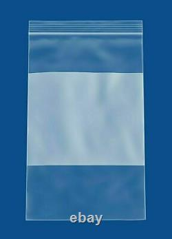 10000 Clear 2 Mil Reclosable Plastic Poly Bags Top Seal 5x8 with White Block