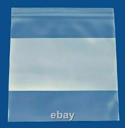 10000 Clear 2 Mil Reclosable Plastic Poly Bags Top Seal 8x8 with White Block
