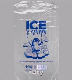1000PCK 20 lb. Clear Plastic Ice Bag with Ice Print