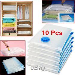 10Pcs Vacuum Storage Bag For Clothes Saving Bag Vaccum Pack Saver 100x80cm UKES