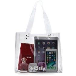 10X(Womens Clear Tote Bag For Stadium Work Plastic Pvc Purse Handbags W9M1)