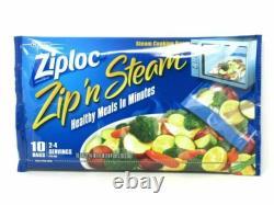 (12) Ziploc Zip N Steam Cooking Bags Microwave 10 Bags Per Pack NEW