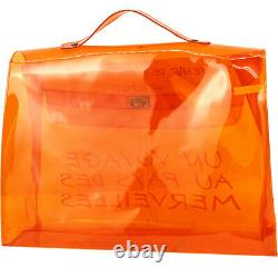 15 Off Hermes Vinyl Kelly Orange Handbag Women Clear Beach Bag Plastic Handbags