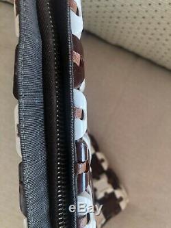 1940's Vintage Brown Tile PlasticFlex Clutch Purse Bag With Clear Lucite Handle