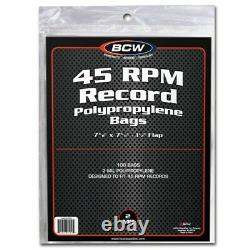 2000 BCW 45RPM Record Single Acid Free Clear Archival 2 Mil Poly Bags