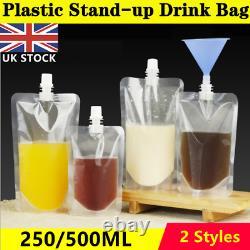 250/500ml Stand Up Reusable Leak Proof Plastic Drink Pouch Bag Booze Bottle UK