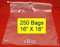 250 Drawstring Tote Shoe Bag Clear Plastic Bags 16 X 18 Full Box NEW