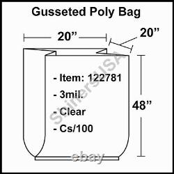 3 mil Gusseted Poly Plastic Bag 20x20x48 Clear FDA Approved cs/100 (122781)