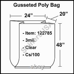 3 mil Gusseted Poly Plastic Bag 24x20x48 Clear FDA Approved cs/100 (122785)