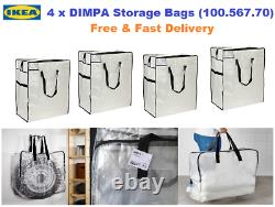 4x IKEA DIMPA Large Clear Transparent Plastic Zipped Storage Bags(65x22x65cm)