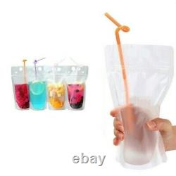5X100Pcs 500Ml Drink Pouches Juice Beverage Bags Stand-Up Self-Sealing Candy