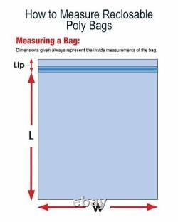 6 x 10 Heavy Duty 6 MIL Resealable Zip Top Lock 6x10 6 ML Clear Plastic Bags