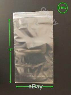 6 x 12 Heavy Duty 6 MIL Resealable Ziplock Zip Lock Bag 6x12 6 ML Plastic Bags