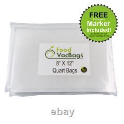 8 x 12 Quart FoodVacBags Vacuum Sealer Bags for Food Saver-Buy More Save More