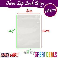 8 x 12cm Grip Seal Zip Lock Self Press Resealable Clear Plastic Bags 1 100,000