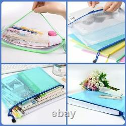 A4 Mesh Plastic Wallet Document Wallets Zip Lock Bags Pockets Folder Pouch Case