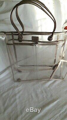 ANYA HINDMARCH Clear Plastic Tote Shoulder Bag Gold Leather Holdall Beach Rare