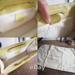 AUTH Gucci 2Way Handbag Clear Plastic Bag Clutch Yellow Leather 7411