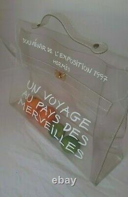 AUTH HERMES Clear Plastic Un Voyage Kelly Souvenir Bag