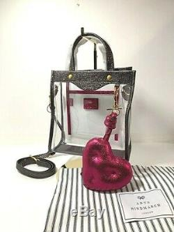 Anya Hindmarch Transparent Crossbody Bag w Charcoal Gray Borders and Strawberry
