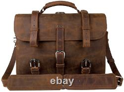 Augus Leather Messenger Bag for Men Briefcase Travel Backpack Shoulder Bag Fit 1