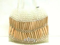 Auth ANTEPRIMA Clear Beige Plastic Wood Handbag