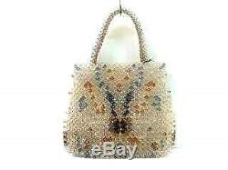 Auth ANTEPRIMA Clear Navy Brown Plastic Tote Bag