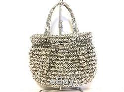 Auth ANTEPRIMA Cristallo Fiocco Silver Clear Wire Satin Plastic Tote Bag