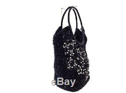Auth ANTEPRIMA Wire Bag Black Clear Gray Wire Plastic Rhinestones Shoulder Bag
