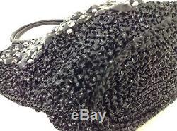 Auth ANTEPRIMA Wire Bag Black Clear Gray Wire Plastic Rhinestones Shoulder Bag