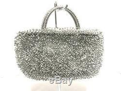 Auth ANTEPRIMA Wire Bag Silver Clear Wire Rhinestones Plastic Handbag
