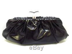 Auth CHANEL Black Clear Patent Leather Plastic Clutch Bag