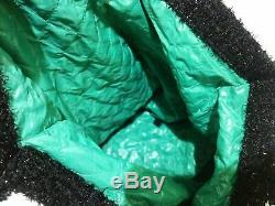 Auth CHANEL Black Green Clear Chemical Fiber Plastic Tote Bag