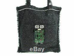 Auth CHANEL Black Green Clear Tweeds Plastic Tote Bag