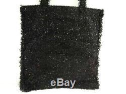 Auth CHANEL Black Green Clear Tweeds Plastic Tote Bag Robot Glitter Rhinestones