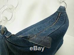 Auth CHANEL Blue Clear Denim Plastic Handbag