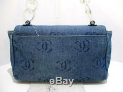 Auth CHANEL Blue Navy Clear Denim Plastic Shoulder Bag