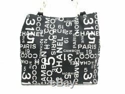 Auth CHANEL By Sea Line A18302 Black White Clear Canvas Plastic Tote Bag
