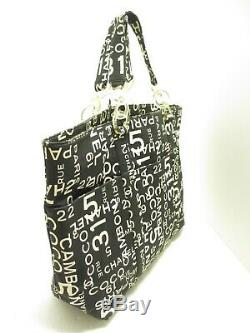 Auth CHANEL By Sea Line Black White Clear Canvas Plastic Tote Bag
