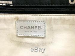 Auth CHANEL By Sea Line Black White Clear Cotton Plastic Tote Bag