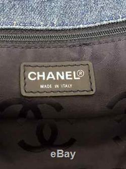 Auth CHANEL By Sea Line Blue Clear Denim Plastic Tote Bag