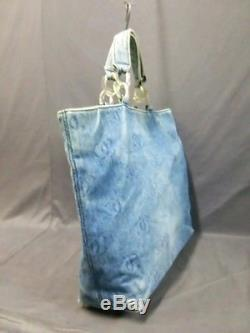 Auth CHANEL By Sea Line Light Blue Clear Denim Plastic Tote Bag