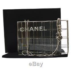 Auth CHANEL CC Logos Beaded Shoulder Bag Clear Silver Plastic Vintage V10688