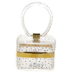 Auth CHANEL Rhinestone CC Logos Mini Hand Bag Vanity Clear Plastic GHW AK27673