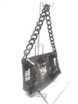 Auth CHANEL Window Shop Black Clear Vinyl Plastic Shoulder Bag