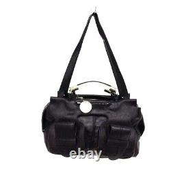 Auth Chloe Saskia Black Clear Gold Leather Plastic Hardware Shoulder Bag