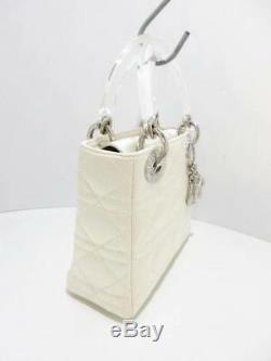 Auth ChristianDior Lady Dior Ivory Clear Satin Plastic Handbag