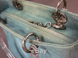 Auth ChristianDior Lady Dior Light Blue Clear Denim Plastic Handbag