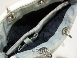 Auth ChristianDior Lady Dior Light Blue Clear Denim Plastic Tote Bag